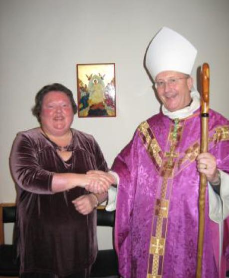 Hazel and the Bishop at her vow