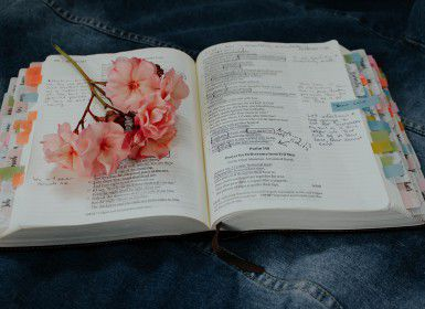 A bible with pink flowers over it