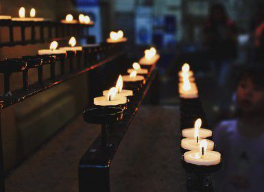 Tealights in a church