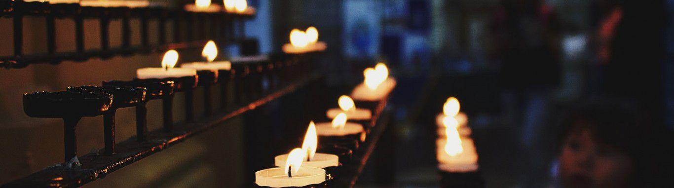 Tealights in a church