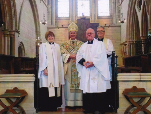 Beverley, Bishop Dominic, Edwin, parish priest.